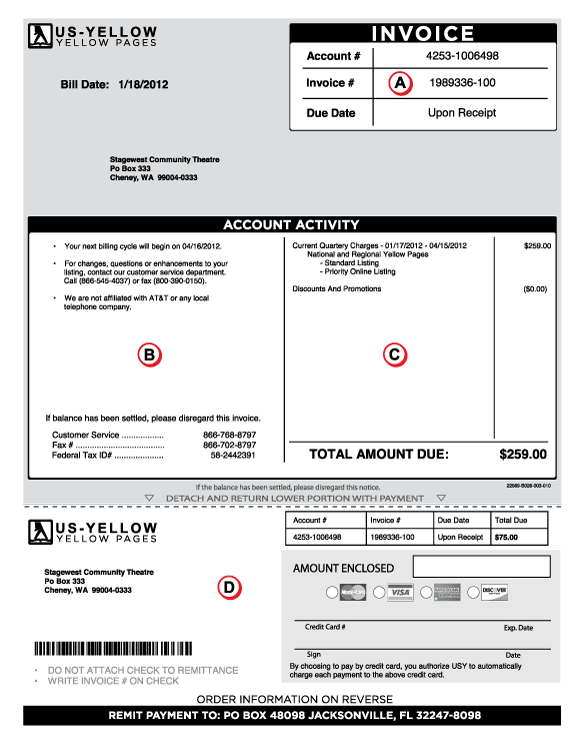 front of invoice