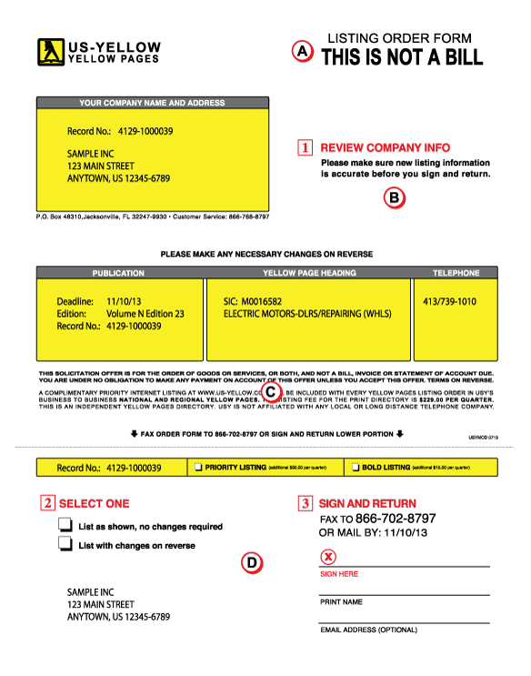 listing order form front